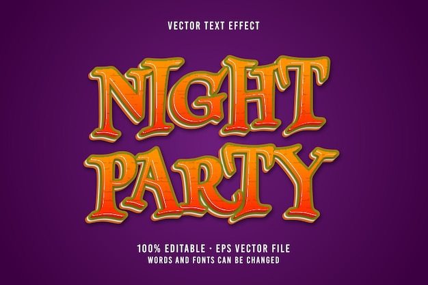 Night party text editable font effect