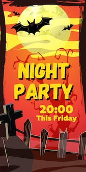 Night party this friday lettering. bats flying over graveyard