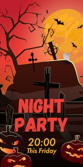 Night party this friday lettering. graveyard, pumpkins and bats