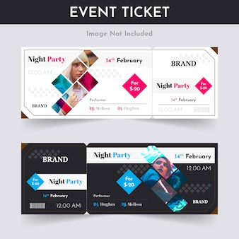 Night party ticket pass design
