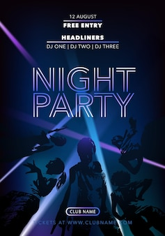 Ночная вечеринка вектор флаер, плакат с танцующими людьми. объявление о дискотеке. музыкальное представление во время фестиваля