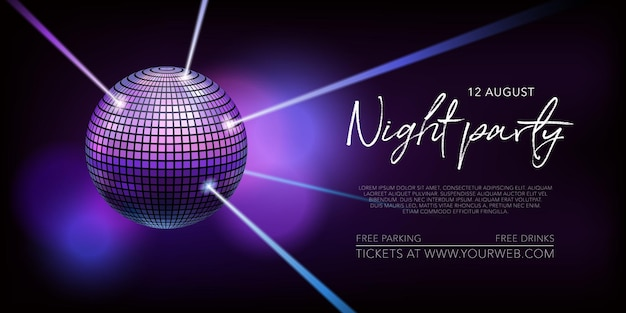 Night party vector illustration, poster. disco, night club concert announcement or internet banner. purple background with disco ball and ray of lights for musical performance