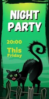 Night partyこの金曜日のレタリング。フェンスの後ろに怒っている黒い猫