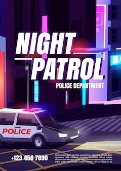 Night patrol poster with police department car with signaling riding night city street with houses, empty road crosswalk and traffic lights