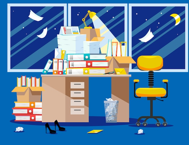 Night period of accountants and financier reports submission. pile of paper documents and file folders in cardboard boxes on office table. flat vector illustration windows, chair and waste-basket