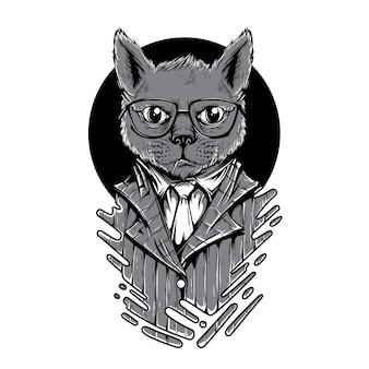 Night play cat black and white illustration