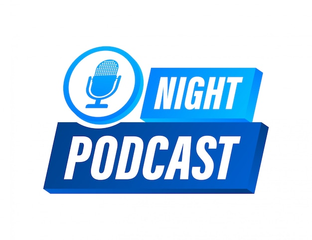 Night podcast icon,  symbol in flat isometric style isolated on color background.  stock illustration.