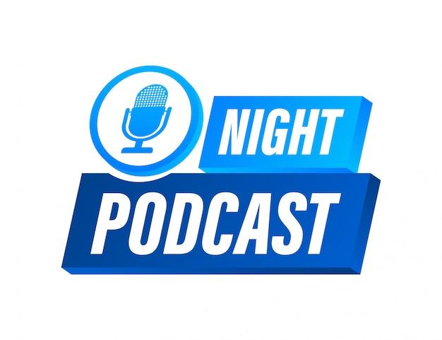 夜のポッドキャストアイコン、色の背景に分離されたフラットなアイソメ図スタイルのシンボル。ストックイラスト。
