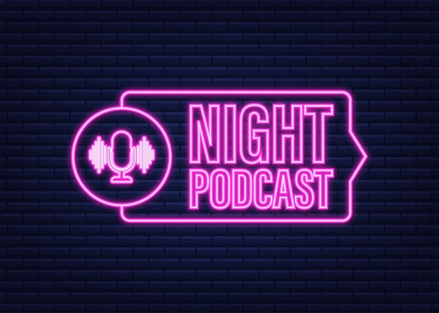 Night podcast neon icon, vector symbol in flat isometric style isolated on white background. vector stock illustration.