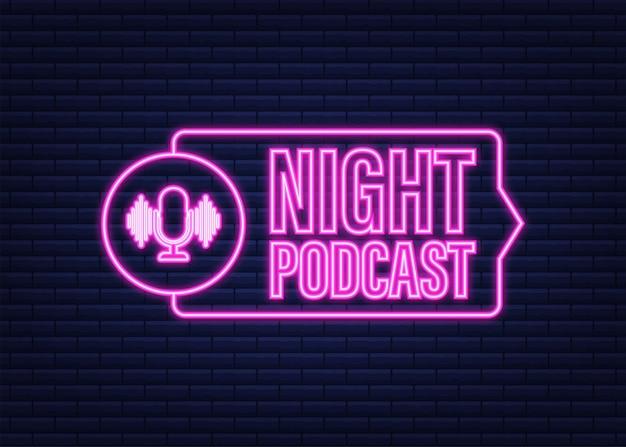 夜のポッドキャストネオンアイコン、白い背景で隔離のフラットアイソメトリックスタイルのベクトルシンボル。ベクトルストックイラスト。