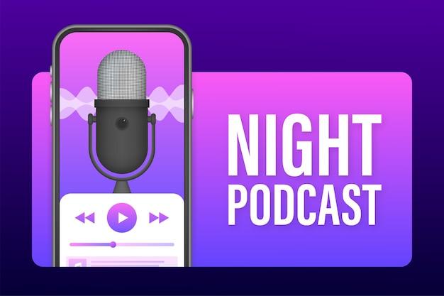 Night podcast on smartphone screen illustration