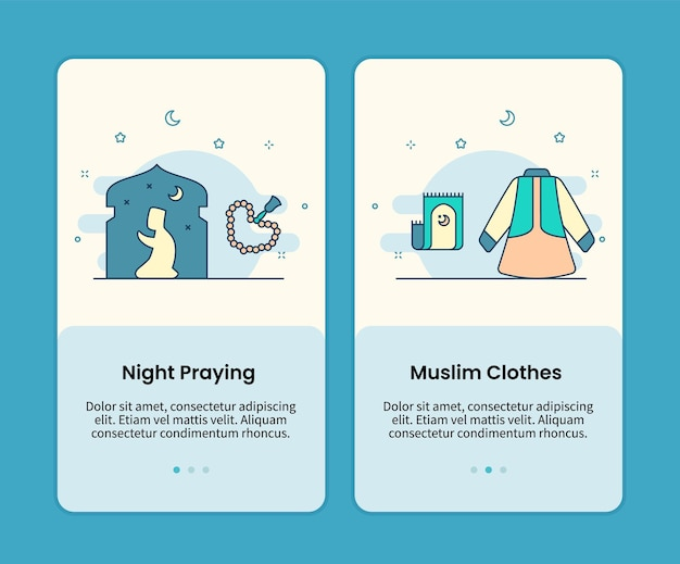 Night praying and muslim clothes mobile pages set