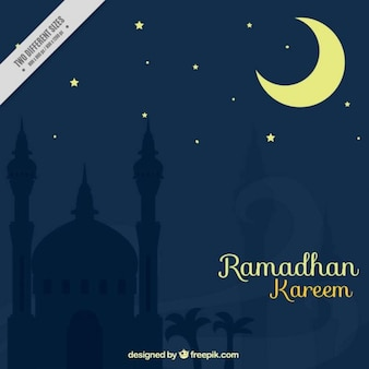 Night ramadan background with crescent moon