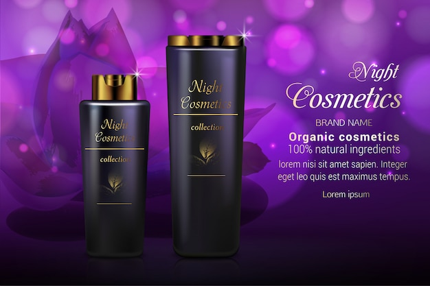 Night realistic cosmetics advertising banner  template