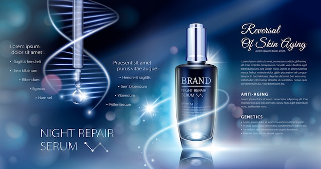 Night repair serum ads with neon helix background in  illustration, bokeh glowing background