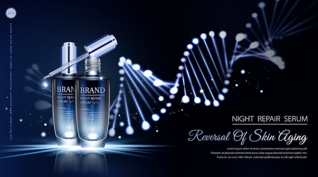 Night repair serum ads with neon helix background in  illustration