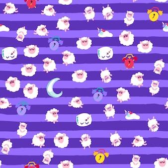 Ночной отдых, перед сном вектор бесшовные модели. обои с милыми спящими животными мультяшный дизайн