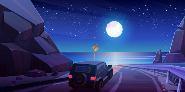 Night road trip by car, travel on jeep driving at highway in mountains with beautiful seaview landscape under full moon and starry sky.
