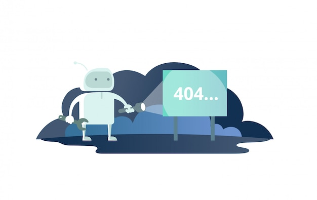 Night robot with flashlight in space signboard 404 error. cute illustration for error page 404 not found Premium Vector