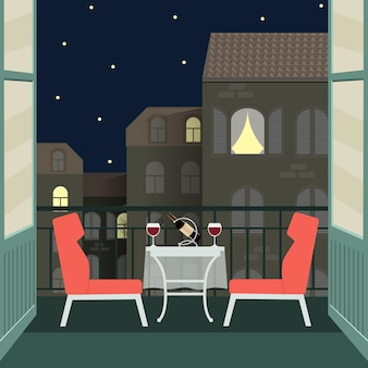 Night romantic date with wine on balcony. vector flat illustration