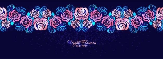 밤 장미 네온 장미와 러시아 장식 스타일의 어둠에 나뭇잎