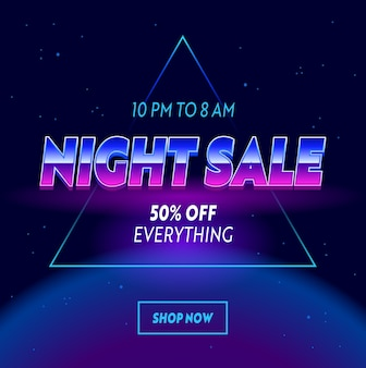 Night sale advertising banner with typography on neon space with stars cyberpunk futuristic style