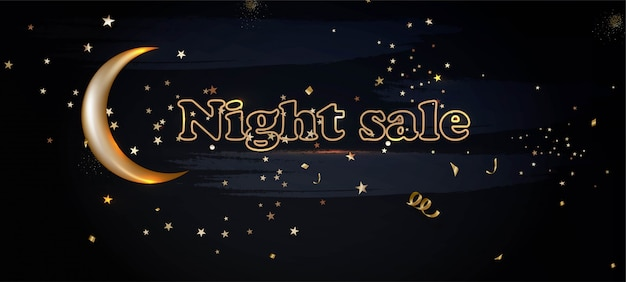 Night sale horizontal banner with golden moon, night sky, stars lights.