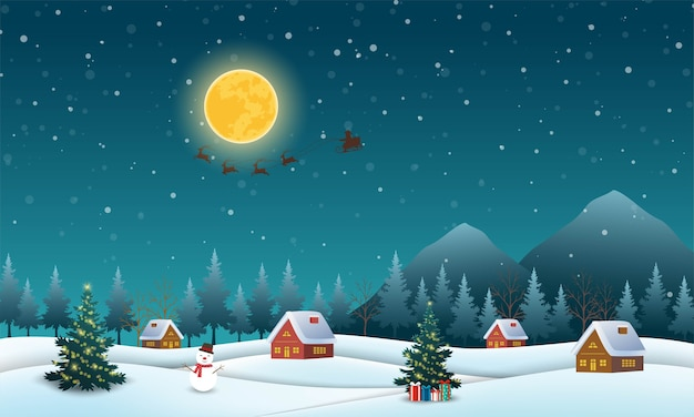 Night scene background with santa claus flying on sleigh pulled by reindeer over village