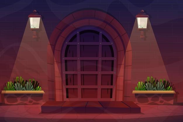 야경, 벽돌집의 전면 나무 문이 있는 외부 디자인 하우스 정면과 벽에 램프, 평평한 스타일의 화분