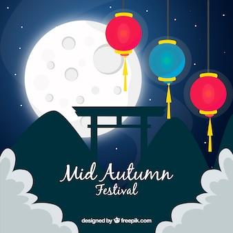 Ночная сцена для фестиваля середины осени