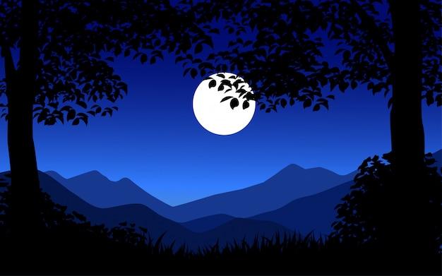 Иллюстрация ночной сцены с полной луной и деревьями