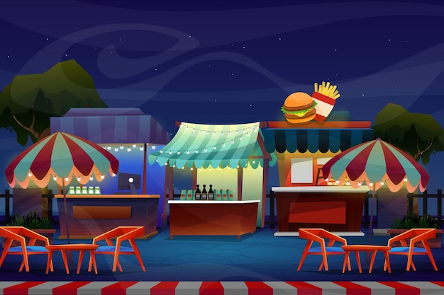 Night scene of mini booth or beverage shop with chair and table under parasol or umbrella near nature park