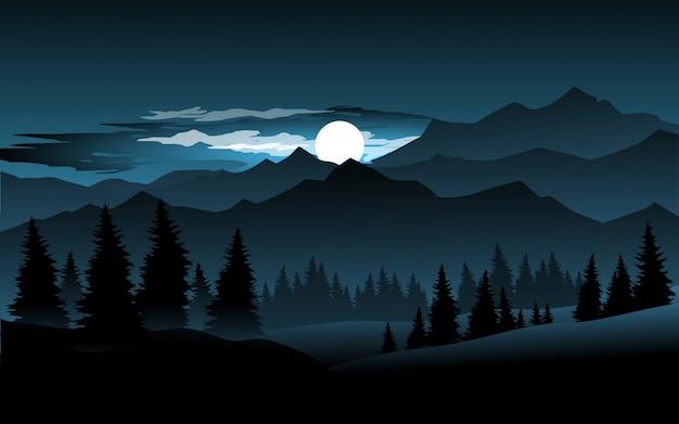 Night scene at mountain illustration