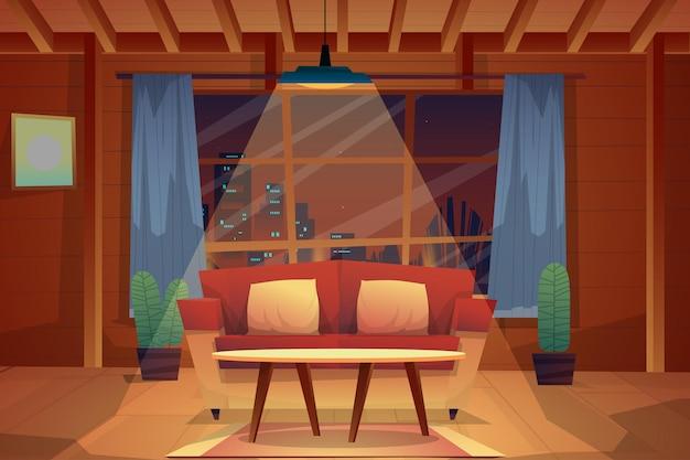 Ночная сцена красного дивана и подушек с журнальным столиком на ковре в гостиной