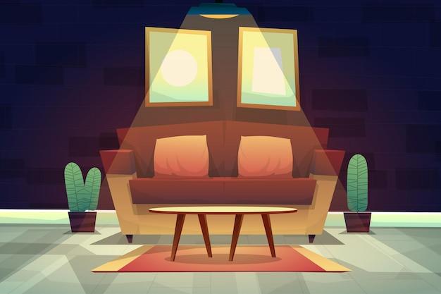 自宅の天井からの照明の下でカーペットの上にクッションとコーヒーテーブルとソファの夜のシーン