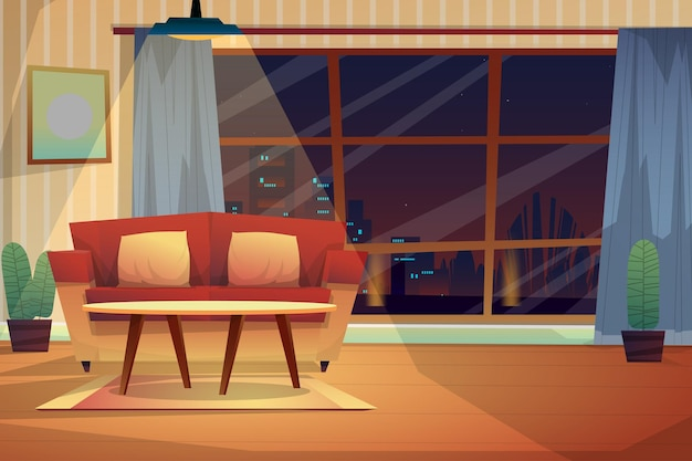 Ночная сцена дивана с подушками и журнальным столиком на ковре при освещении от потолка дома