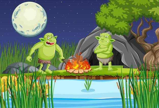 Scena notturna con personaggio dei cartoni animati goblin o troll