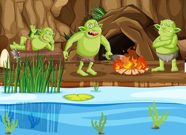 Night scene with goblin or troll cartoon character Free Vector