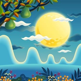 Ночная сцена с деревьями помело и полной луной