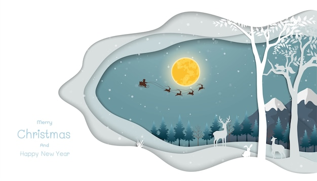 Night scene with santa claus flying on sleigh pulled by reindeer over forest