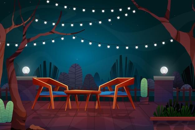 公園の漫画の街並みの照明付きのコーヒーテーブルとランプと木製の椅子と夜のシーン