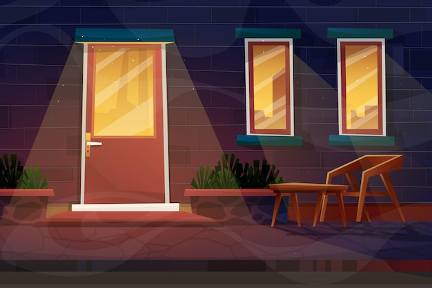 Night scene with wooden chair with coffee table and lamp with lighting from house in cartoon style