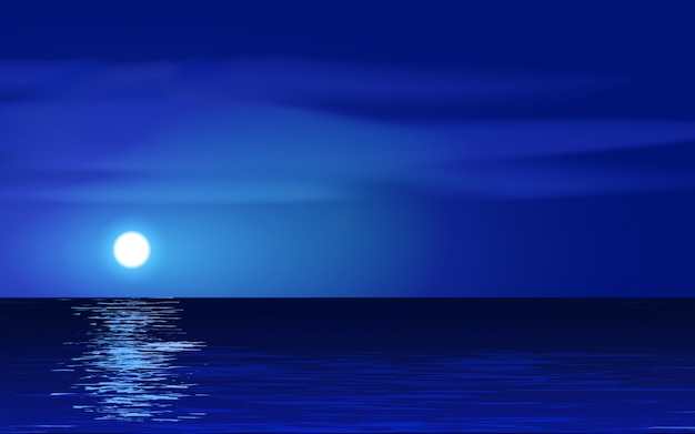 Night scenery in ocean with moon