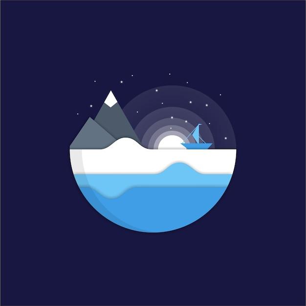 Night sea flat logo design