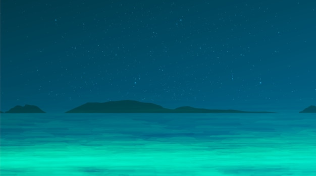 Night sea of frog on night blue background,comic cartoon concept