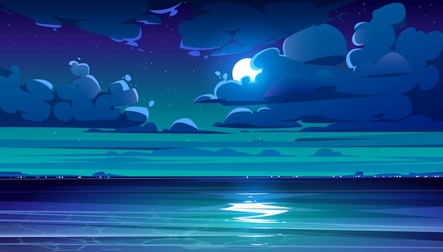 Night sea landscape with coastline and moon in sky