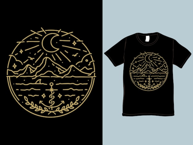 Night at the sea monoline t-shirt and illustration