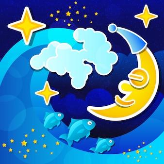 Ночной пейзаж с полной луной и звездным небом. векторная иллюстрация