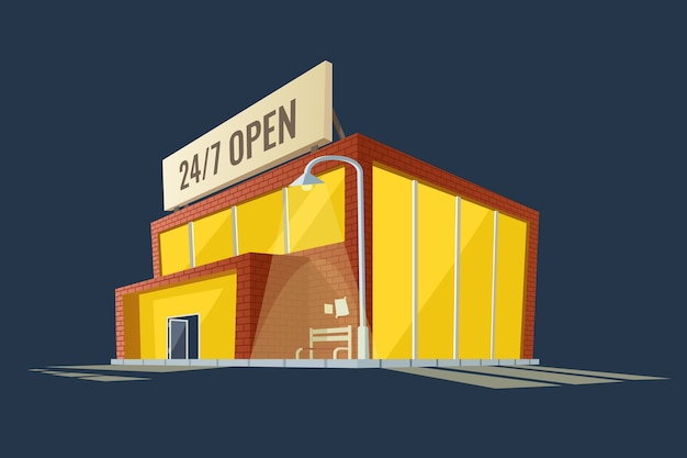 Night shop 24/7 open all time, 3d cartoon building of supermarket