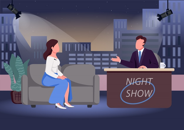 Night show flat color illustration